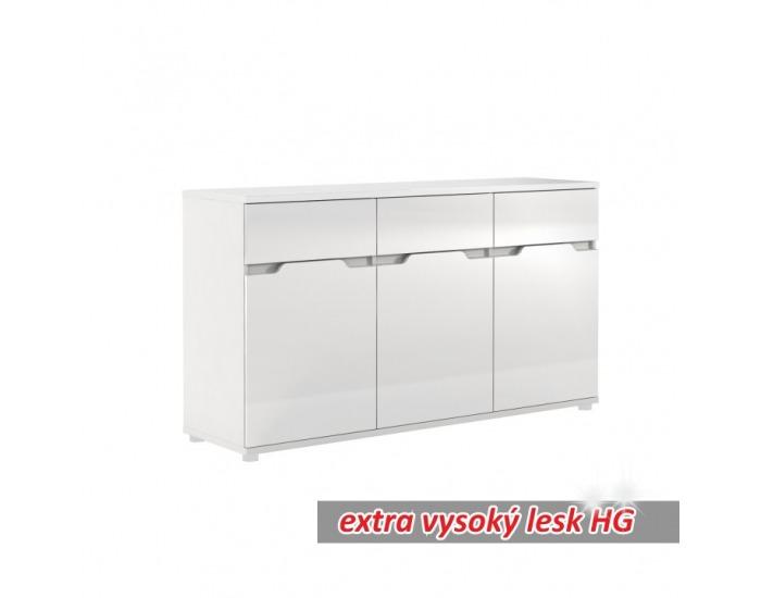 Trojdverová komoda Adonis ASK6 - biela / biely vysoký lesk