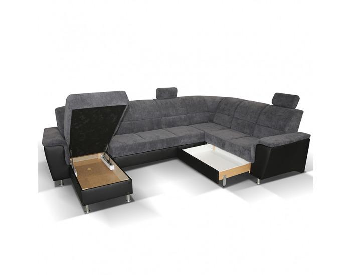 Rohová sedačka U s rozkladom a úložným priestorom Santiago P - sivá / čierna