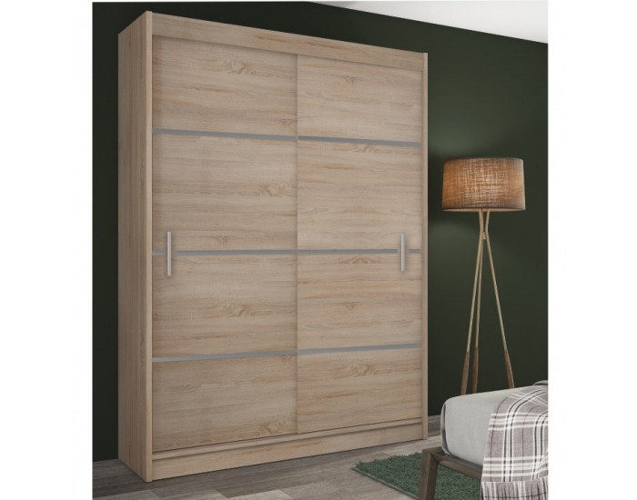 Šatníková skriňa s posuvnými dverami Merina 150 2D - dub sonoma / sivá