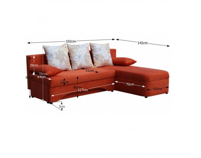 Rohová sedačka s rozkladom Polaris New L/P - hnedá
