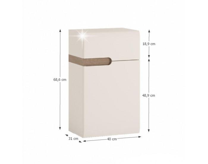 Kúpeľňová skrinka na stenu Lynatet 156 P - biela / biely vysoký lesk / dub sonoma truflový