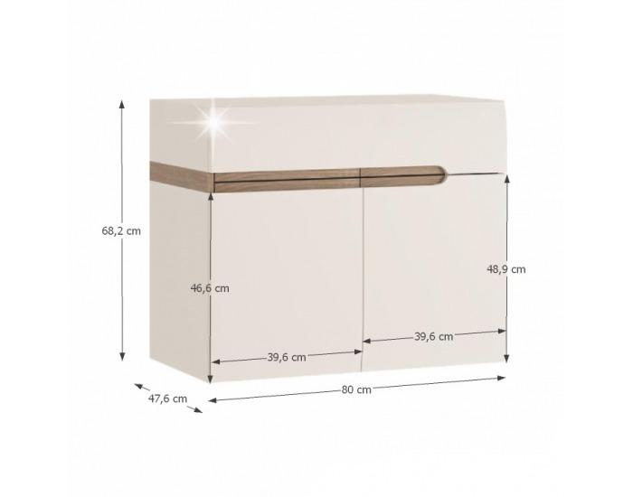 Kúpeľňová skrinka s umývadlom Lynatet 150 - biela / biely vysoký lesk / dub sonoma truflový