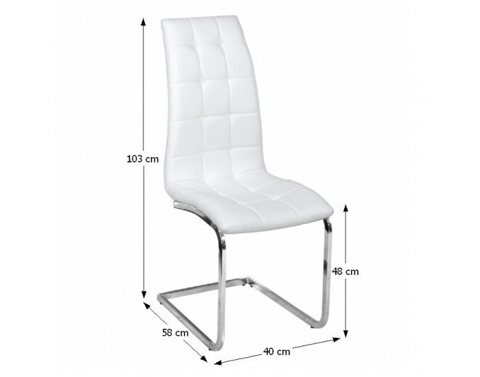 Jedálenská stolička Dulcia - biela / chróm