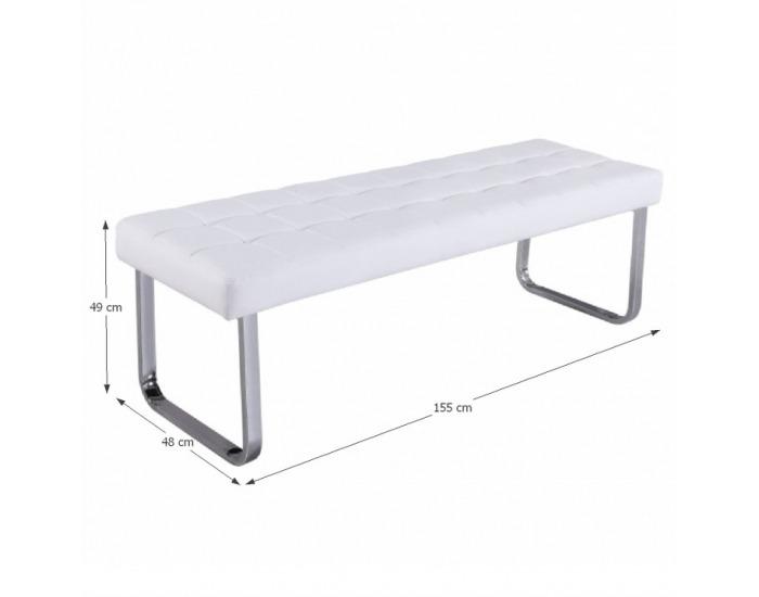 Čalúnená lavica Brand - biela / chróm