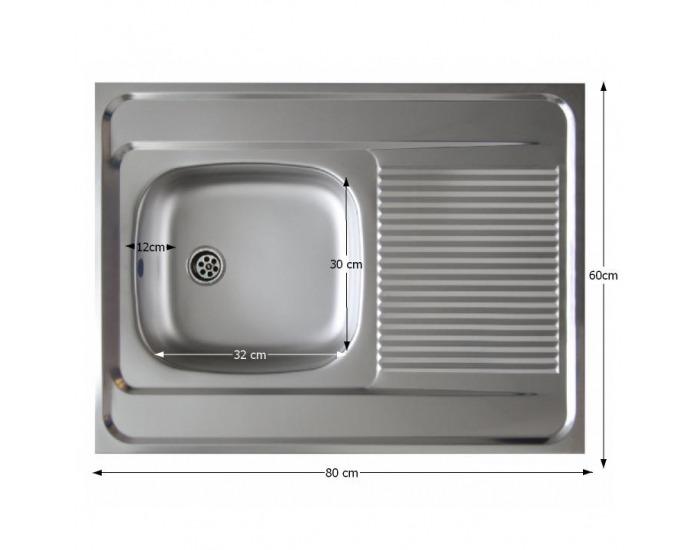 Nerezový kuchynský drez Lay ON 80x60 cm - nerezová