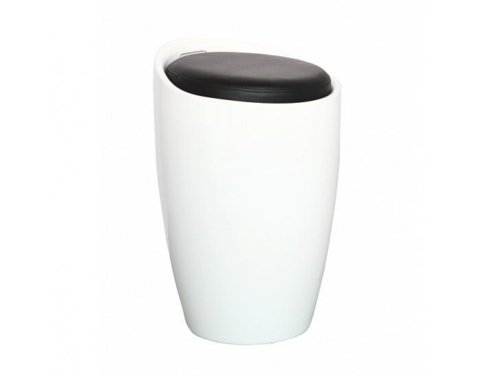 Taburetka s úložným priestorom Dalila HC-8114 New - biela / čierna