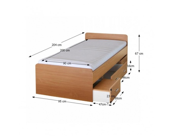 Manželská posteľ s úložným priestorom Duet 80262 90 - buk