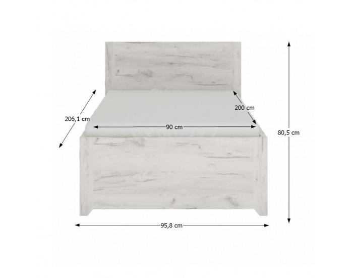 Jednolôžková posteľ s úložným priestorom Angel Typ 90 3S 90 - biela / craft
