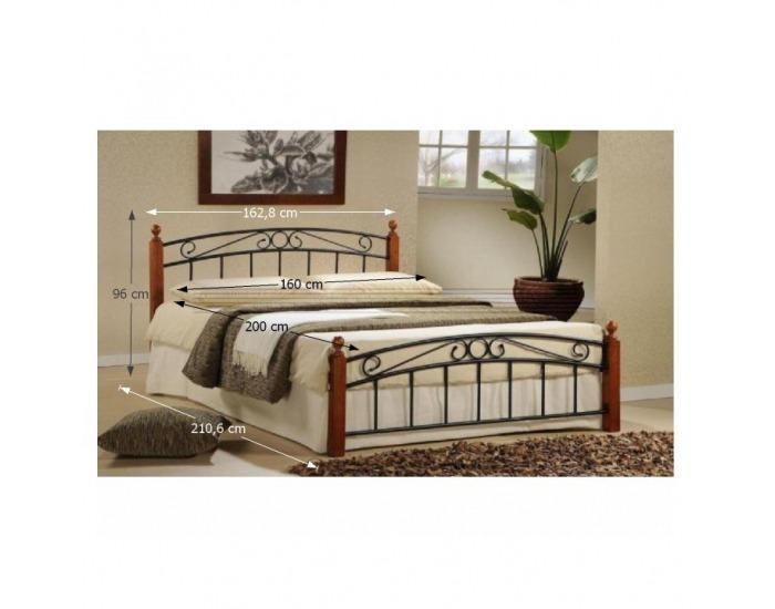 Kovová manželská posteľ s roštom Dolores 160 - čerešňa / čierna