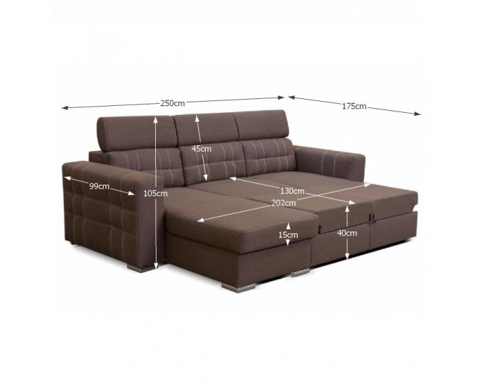 Rohová sedačka s rozkladom a úložným priestorom Chris L/P - hnedá / béžová