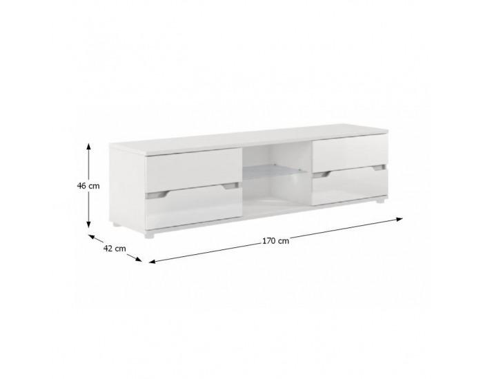 TV stolík Adonis AS 30 - biela / biely vysoký lesk