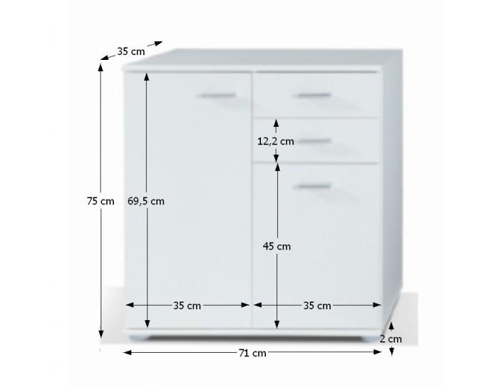 Dvojdverová komoda Tampa 2T2S - biela