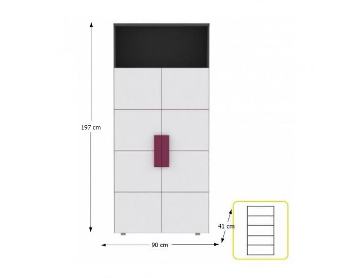 Policová skriňa Lobete R82 - sivá / biela / fialová