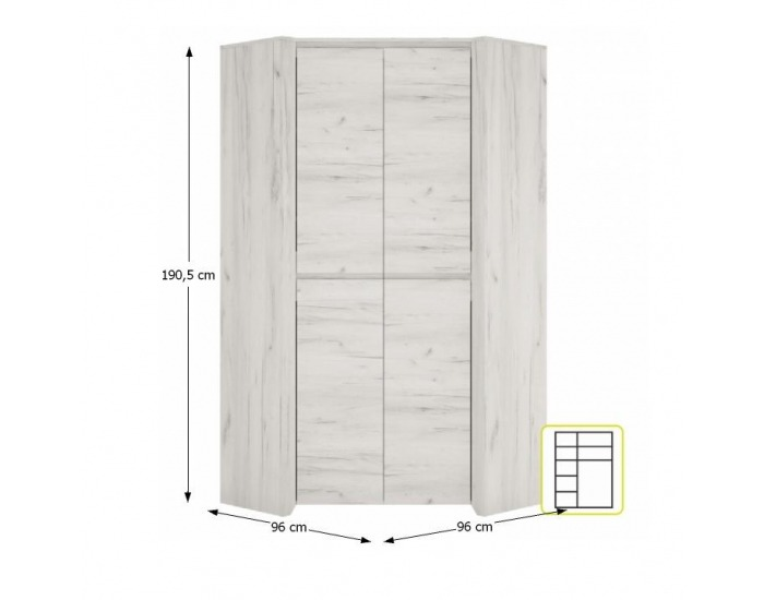 Rohová šatníková skriňa Angel Typ 21 2D - biela / craft