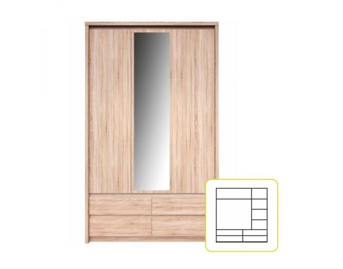 Šatníková skriňa so zrkadlom Norty Typ 1 3D - dub sonoma
