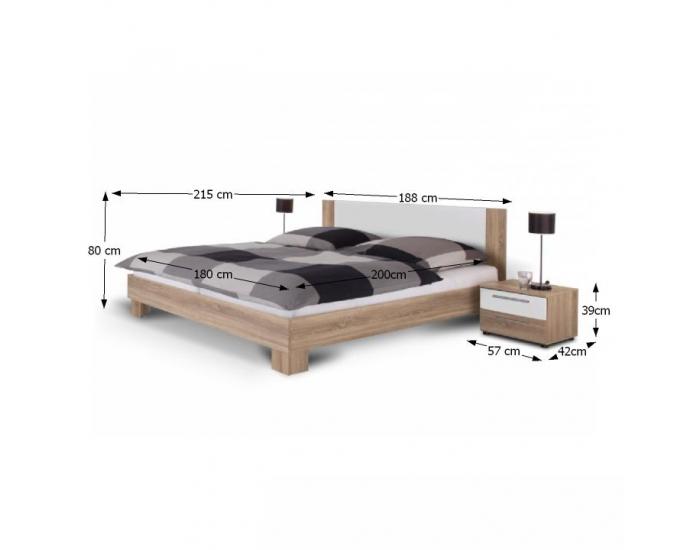 Manželská posteľ s nočnými stolíkmi (2 ks) Martina 180 - dub sonoma / biela