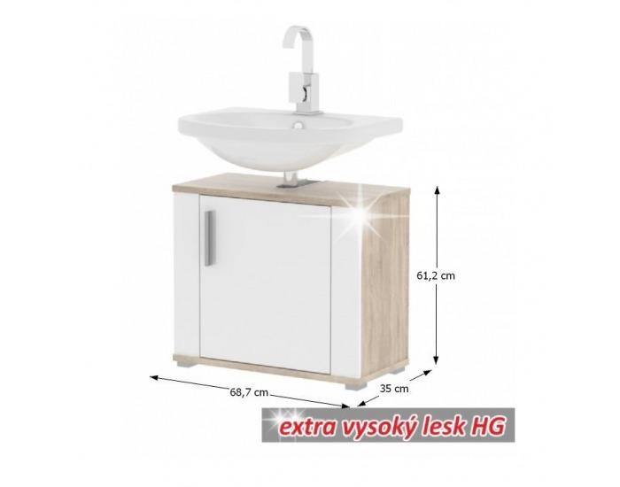 Kúpeľňová skrinka pod umývadlo Lessy LI 2 - dub sonoma / biely vysoký lesk