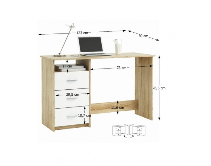 Univerzálny PC stolík Laristote 101000 L/P - dub sonoma / biela