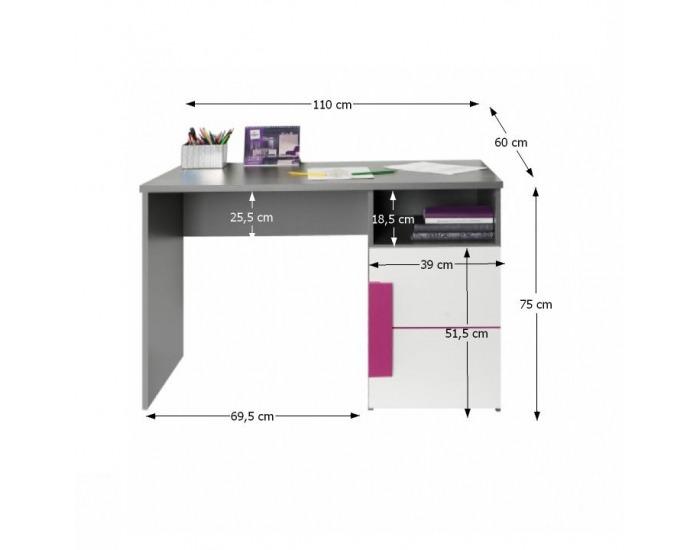 PC stolík Lobete 21 - sivá / biela / fialová