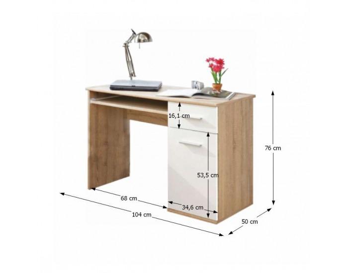 PC stolík Emio Typ 6 - dub sonoma / biela