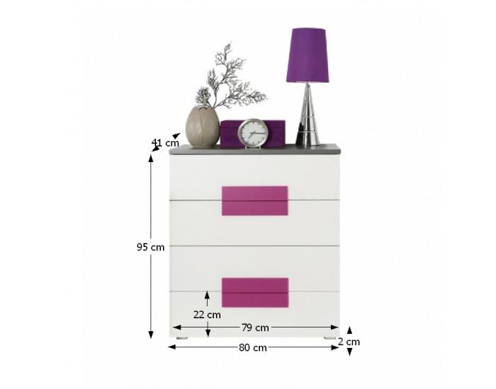 Zásuvková komoda Lobete 34 - sivá / biela / fialová