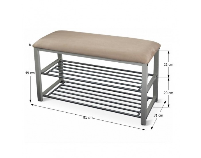 Botník so sedadlom Langella - béžová / sivá