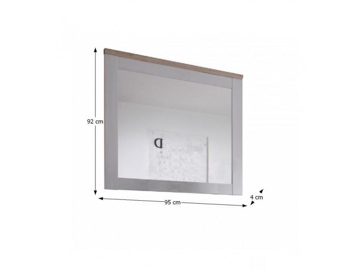 Zrkadlo na stenu Provensal - biela / dub san remo