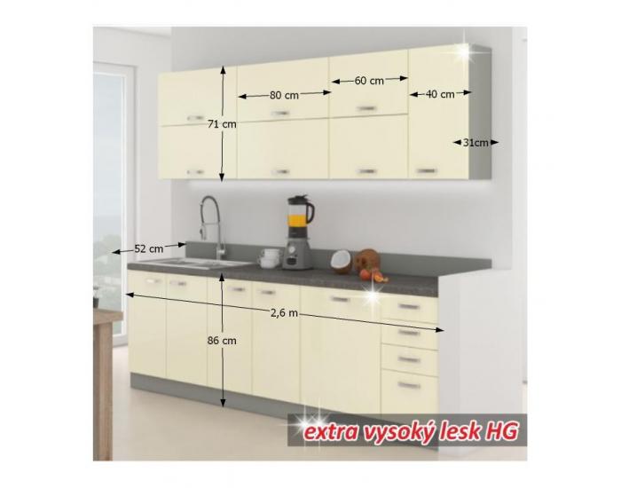 Kuchyňa Prado 260 - krémový vysoký lesk