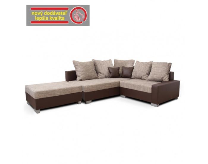 Rohová sedačka Ida New L - hnedá / svetlohnedá melírovaná
