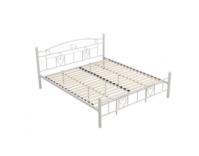 Kovová manželská posteľ s roštom Brita 180 - biela