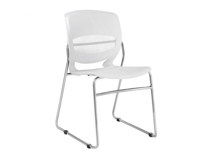 Kancelárska stolička Imena - biela / chróm