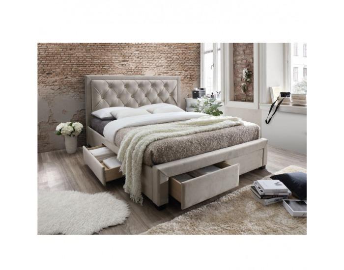 Čalúnená manželská posteľ s roštom Orea 180 - sivohnedá