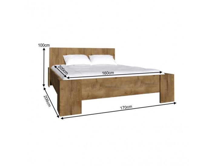 Manželská posteľ s roštom Montana L1 160 - dub lefkas tmavý