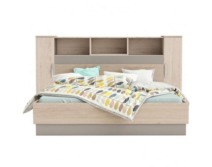 Panel k posteli so skrinkami Graphic Typ 4 - dub arizona / sivá