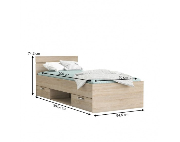 Jednolôžková posteľ s úložným priestorom Michigan 90 - dub sonoma
