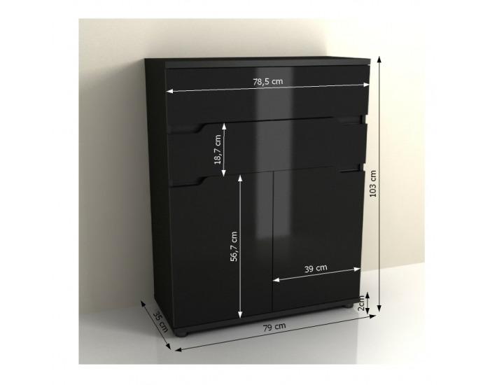 Dvojdverová komoda Adonis AS 1 - čierna / čierny vysoký lesk