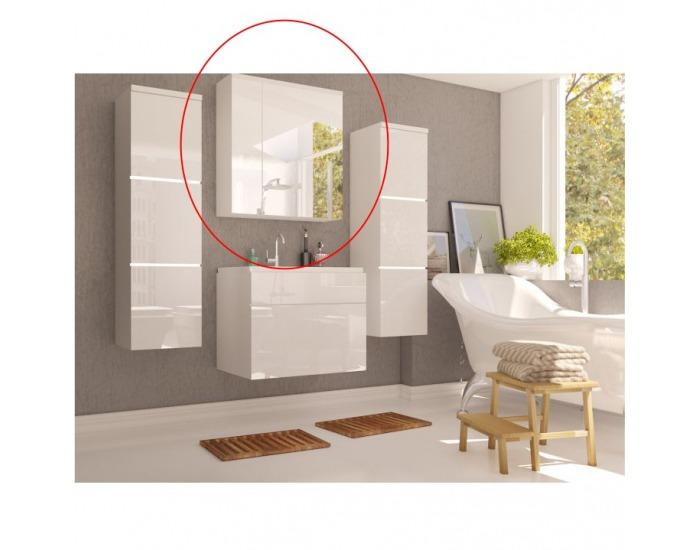 Kúpeľňová skrinka na stenu so zrkadlom Mason WH 14 - biela / biely vysoký lesk