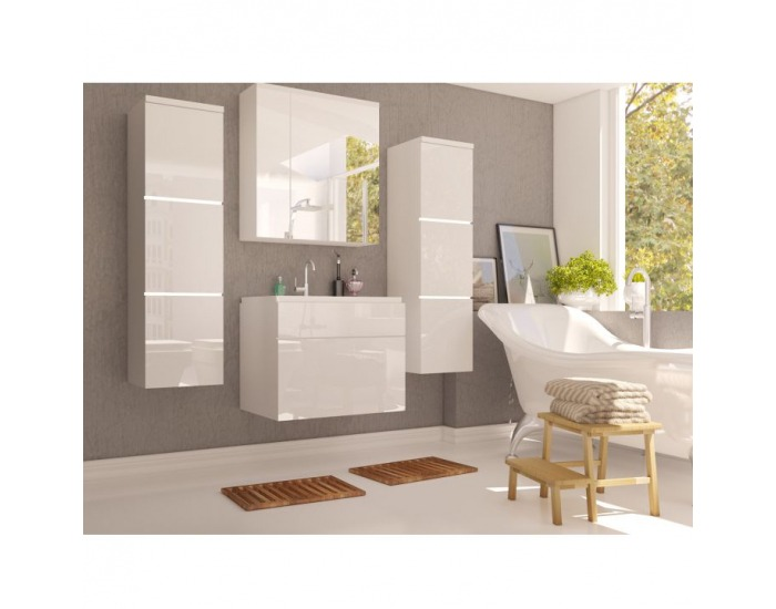 Kúpeľňa Mason - biela / biely vysoký lesk