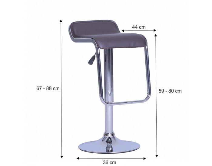 Barová stolička Ilana - hnedá / chróm