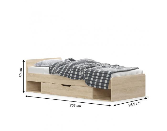 Jednolôžková posteľ s úložným priestorom Teyo 1S/90 - dub sonoma