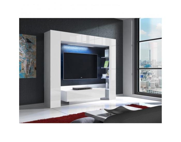 Obývacia stena s osvetlením Monterej - biela / biely vysoký lesk