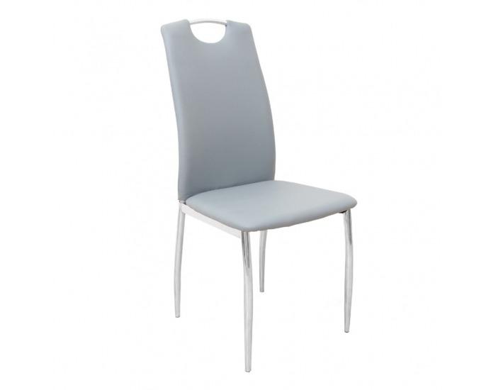 Jedálenská stolička Ervina - sivá / chróm
