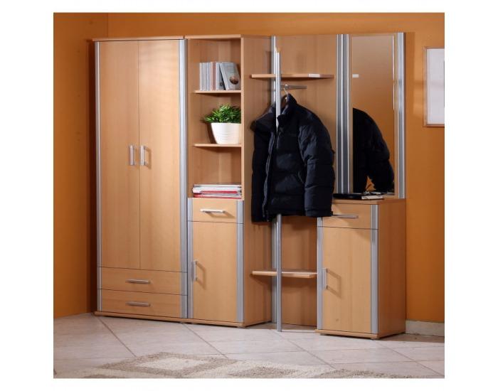 Vešiaková stena Lissi 10 - buk / strieborná