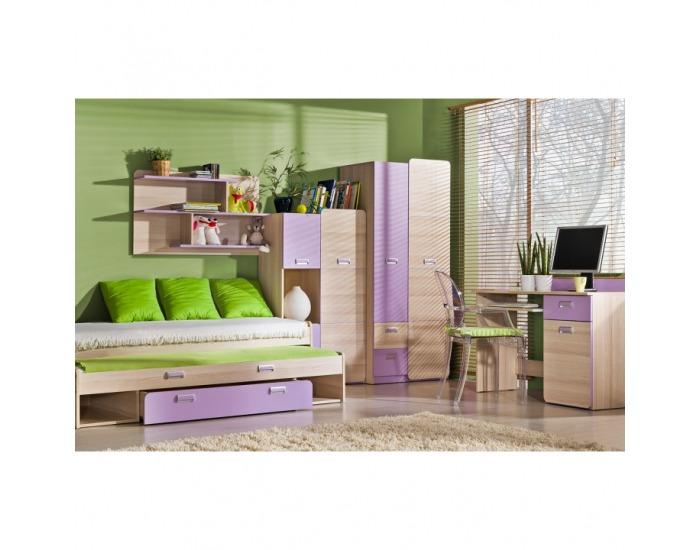 Rozkladacia posteľ s prístelkou Ego L16 80 - jaseň / fialová