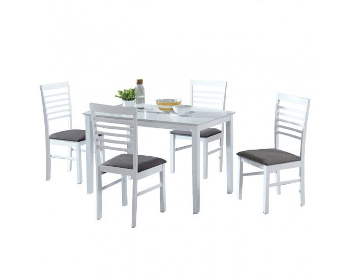 Jedálenský set Brisbo 1+4 - biela / sivá