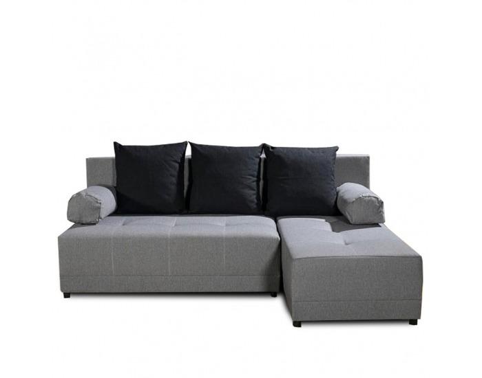 Rohová sedačka s rozkladom a úložným priestorom Mexx P - sivá / čierna