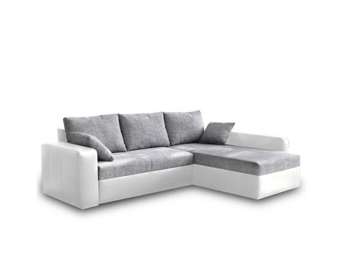 Rohová sedačka s rozkladom a úložným priestorom Viper L/P - biela ekokoža / sivý šenil