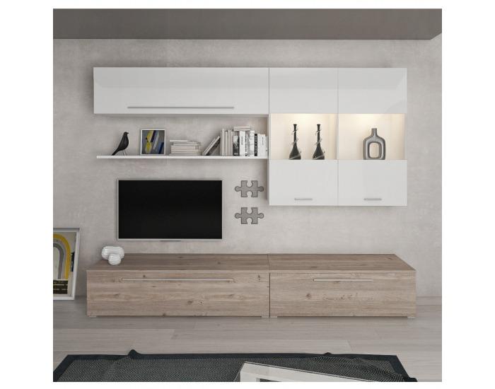 Obývacia stena Sofi - dub nelson / biely vysoký lesk