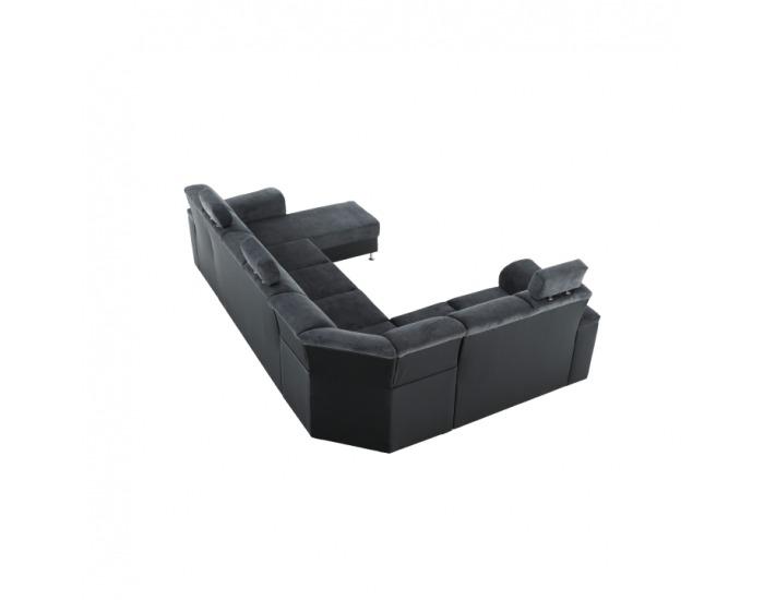 Rohová sedačka U s rozkladom a úložným priestorom Santiago L - sivá / čierna