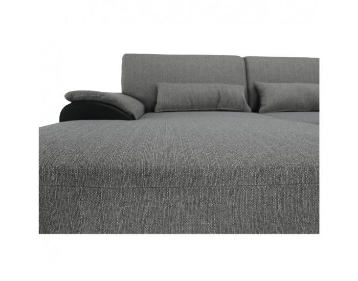 Rohová sedačka s rozkladom a úložným priestorom Emily L - čierna / sivá